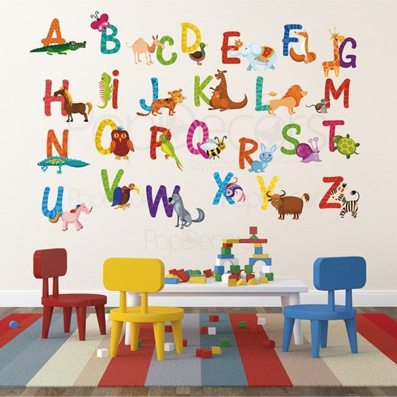 Bon Kids Room Wall Stickers Playroom Printed Wall Decals   26 Alphabet Animals  Sticker   Animals Stickers Wall Murals Prt0002