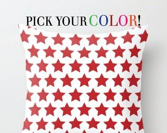 Decorative Pillow, Star Cushion, Star Patterned Throw Pillow, Modern Cushion Cover, 16x16 18x18 20x20, Blue Green White Red Purple Orange