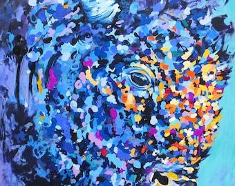 Buffalo Print,Canadian artist,art,painting,animal print,colourful buffalo painting,colourful art,Bison,original art,buffalo,art print,kids