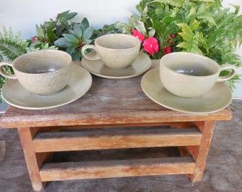 3 Vintage Edith Heath California Pottery Sage Green Cups & Saucers