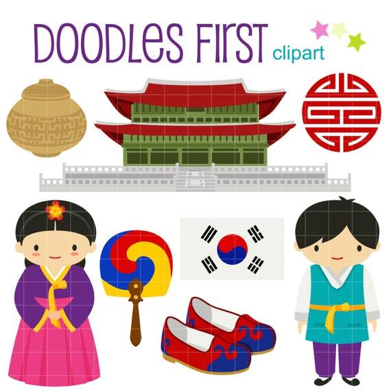 traditional korea digital clip art for scrapbooking card rh etsy com korean clipart cute korean clipart cute