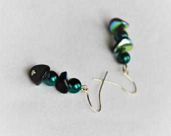 Emerald green earrings, Boho Earrings