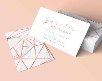 Gold business card etsy rose gold business card geometric business card marble gold rose printable customizable business reheart Choice Image