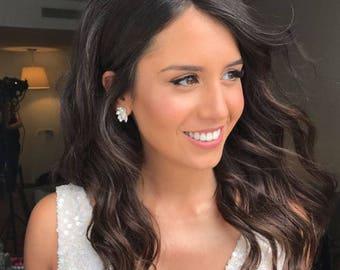 Bridal Earrings, Silver Bridal Jewelry, Cluster Earrings, Swarovski Earrings, Modern Earrings, Crystal Stud Earrings, Drop Earrings, Boho