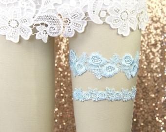 Light Blue Venice Lace Wedding Garter Set, Light blue Lace Garter Set, Toss Garter,Something Blue, Wedding Blue Garter