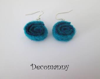Boucles d'oreilles roll up feutrine turquoise et bleu cobalt