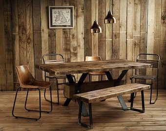 Reclaimed INDUSTRY Central Beam Dining Table Handmade UK
