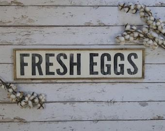Fresh Eggs Sign, Farmhouse Style, Wood Fresh Eggs Sign, Market Sign, Farmhouse Decor, Farmhouse Kitchen, Kitchen Sign, Farm Fresh Eggs