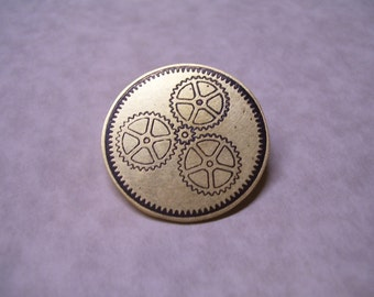 Steampunk Gear Motif Pin or Pendant