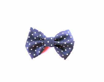 Navy Polka Dot Bow Tie - Polka Dot Hair Bow - Dottie in Navy - dainty and Dapper
