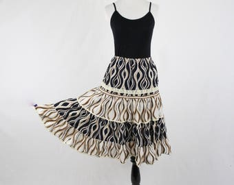 Vintage Rick Rack and Crocheted Lace Trimmed Cotton Skirt