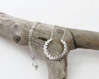 Sterling Silver Laurel Wreath Necklace w/ Chain. Silhouette Jewelry. Simple Statement Necklace. Marriage Symbol. Anniversary Gift.