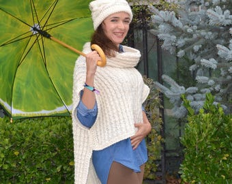 Adult knit sweater Cape coat Women's sweater Knitted poncho Summer poncho Women's Poncho Cape jacket White Poncho wrap Capelet Wool cape
