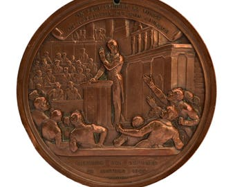 Large Antique French Medal F. Guizot By J.J  Feuchere  - Chamber Of Deputies 1844 - Copper French Political Table Medal