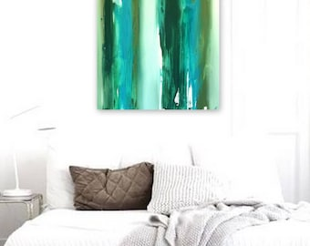 Turquoise Painting - Abstract Turquoise Wall Art - Original Canvas Painting - Ready to Hang 30x24 ""