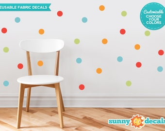 "Polka Dot Fabric Wall Decals for Nursery and Kids Rooms - Set of 48 - 2"" Polka Dots in 4 Colors - Custom Options Available - by Sunny Decals"