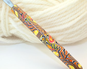 Polymer clay crochet hook, Susan Bates size F/5 or 3.75mm, handmade one of a kind design
