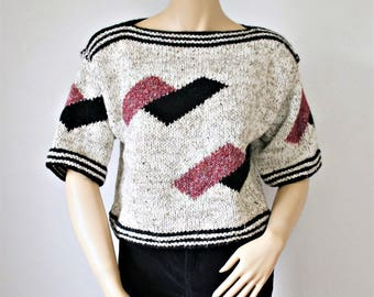 Vintage Sweater Crop Chunky Knit Geometric Liz Claiborne Pullover Size Small
