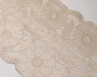"7""/17.75cm Cream Metallic Satin Daisies Stretch Galloon Lace"