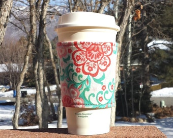 FREE SHIPPING UPGRADE with minimum -  Fabric coffee cozy / cup holder / coffee sleeve / can koosie / mason jar cozy - Coral Flowers