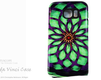 Kalotuscope - Abstract Galaxy S6 Case - Geometric Purple and Green Art - TOUGH dual layer S 6 Case by Da Vinci Case