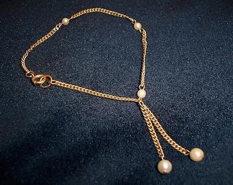 Vintage 12kt GF Genuine Pearl Dangle Drop Bracelet