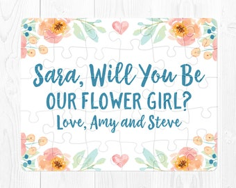 Flower Girl Proposal Puzzle Flower Girl Puzzle Proposal Will You Be My Flower Girl Proposal Gift Flower Girl Proposal Card Blue Peach Cute