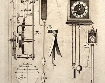 Steampunk Art Print Clock Mechanical Gear Patent Design Drawing