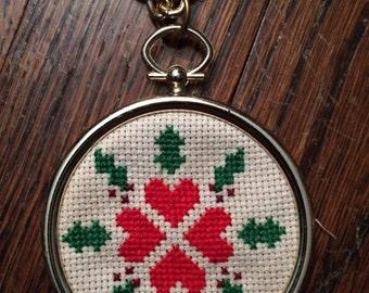 Mini cross stitch heart necklace