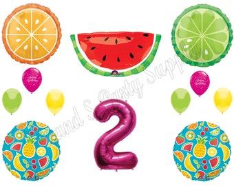 TWO-TI FRUITY 2nd Second Birthday Party Balloons Decoration Supplies Watermelon