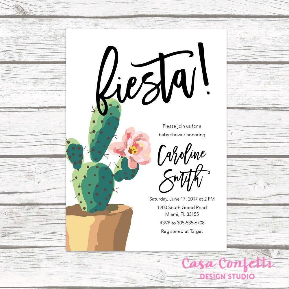 Fiesta Baby Shower Invitation, Cactus Baby Shower Invitation ...