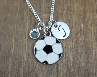 Personalized Soccer Necklace - Hand stamped Monogram Soccer Necklace - Initial, Birthstone Necklace - Soccer Team Necklace