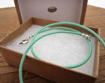 """2mm Genuine Leather Cord Necklace - Mint/Light Green - Pure Sterling Silver Clasp/Catch - 16""""/18""""/20""""/22""""/24""""/28"""" inch"""