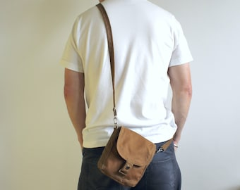 Waxed Canvas Bag, Waxed Canvas Hip Bag, Waxed Canvas Pouch, Mens Mini Messenger, Unisex Crossbody Bag, travel pouch - The Sand Hipster Plus