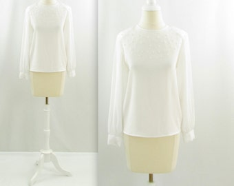 Delicate Pearl Blouse - Vintage 1980s Embellished White Blouse in Small Medium by Piaf