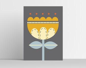 A4 Contemporary Scandinavian Flower Print