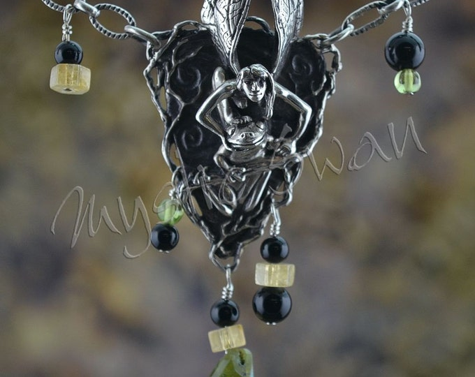 Faerie and Frog Mystical Fantasy Necklace with Vesuvianite, Peridot, Citrine and Black Onyx