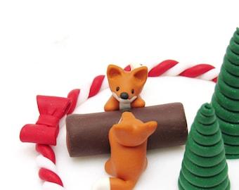 Fox Christmas Cake Topper / Fox Christmas Decoration / Fox Christmas Ornament / Fox Cake Decoration