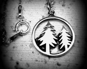 Pine Tree Necklace - 925 Sterling Silver Pine Tree and Mountain Range Pendant - Pine Tree Charm - Nature Jewelry - HIking Wilderness Jewelry