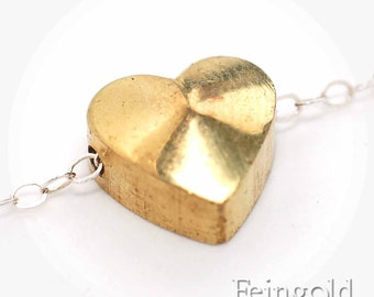 Valentine Tiny vintage brass heart - Pendant on Sterling Silver Chain - Free US Shipping