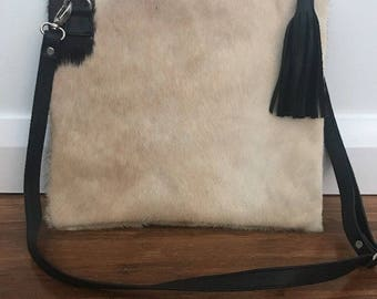 Boho Cow Hide Leather Mid Size Bag - Clutch