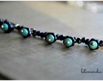 Black Spinel Beaded Necklace Short Like Diamonds in the Sky Choker Turquoise Black Beauty Boho Bells Flowers