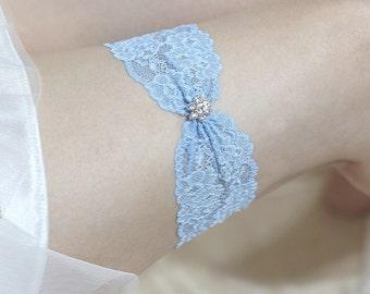 Blue lace garter, rhinestone wedding garter,  lace garter, bridal garter, blue keepsake garter, something blue garter, single garter