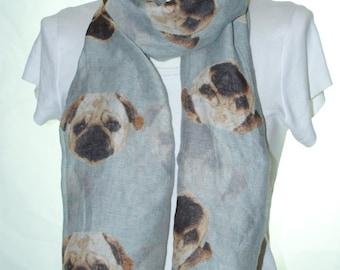 Grey pug dog print scarf, Beach Wrap, Cowl Scarf, pug print scarf, cotton scarf, gifts for her