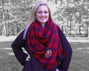 Monogrammed Blanket Scarf-Red Blanket Scarf-Red Scarf-Red Plaid-Monogram Red Scarf-Christmas Plaid-monogram scarf-monogrammed scarf-Personal