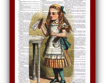 Wall Art Alice in Wonderland Home Decor Alice Drink Me Art Print: upcycled dictionary pages  musical Notes Art Print
