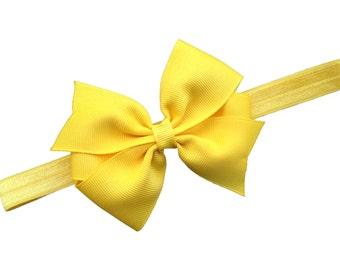 Yellow baby headband - yellow bow headband, baby bow headband, yellow headband, newborn headband, infant headband, baby girl headband