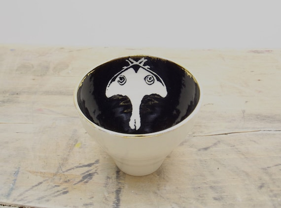 SALE Luna Moth White, Black & Gold Porcelain 5oz. Small Tea Cup, Tea Bowl, Saki Cup