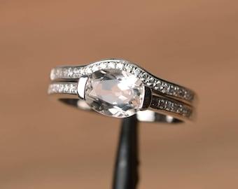 natural white topaz ring anniversary ring oval cut gemstone November birthstone sterling silver ring
