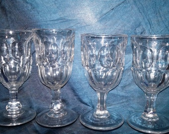 Four Antique Wine Glasses EAPG Victorian Ashburton Flint Molded Glasses 1850s